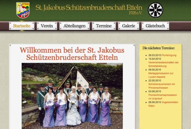 Internetseite der Schützenbruderschaft aus Etteln