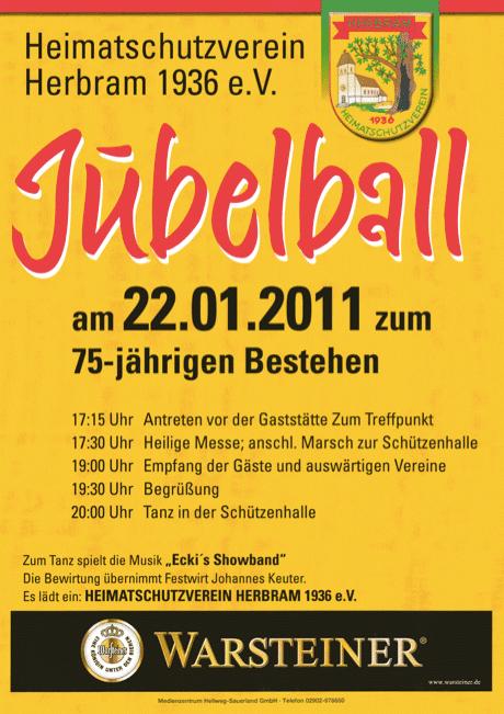 Festprogramm zum Festball in Herbram